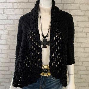 J.Jill Black Crochet drape front cardigan - M